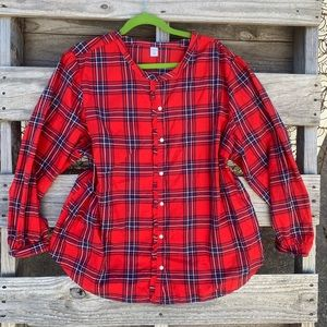 Old navy red plaid button down blouse
